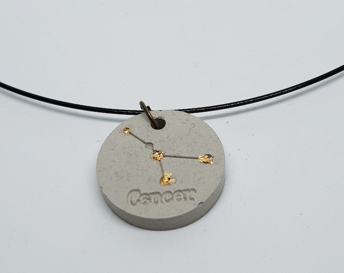 Jewelry necklace one-piece concrete jewelry grey chain pendant jewelry concrete zodiac sign 24 carat gold leaf cancer (Cancer)