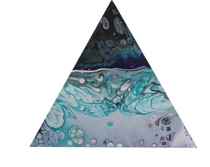 Picture Art Acrylic triangle pouring picture Pouring Skroart unique handmade flow pictures tile technique