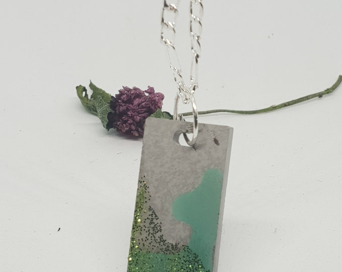 Necklace concrete jewelry gift color 925 silver chain woman concrete jewelry green glitter