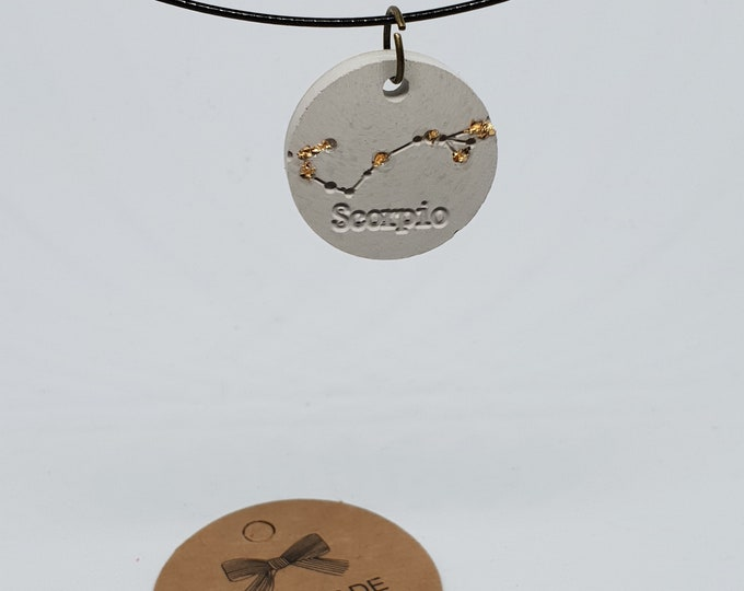 Jewelry neck-ripe one-piece concrete jewelry grey necklace pendant jewelry concrete zodiac sign 24 carat gold leaf scorpion Scorpio