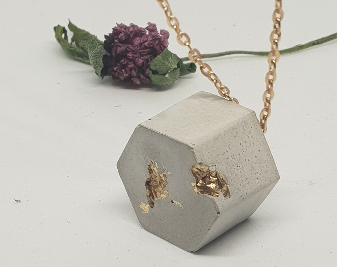 Necklace concrete jewelry gift 24 carat gold leaf necklace woman concrete jewelry New