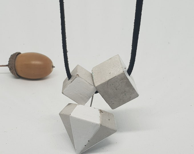 Necklace concrete jewelry gift color grey white woman concrete jewelry velour leather ribbon diamond shape