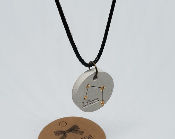 Embark choker one-piece concrete grey necklace pendant jewelry concrete zodiac sign 24 carat gold leaf Libra necklace