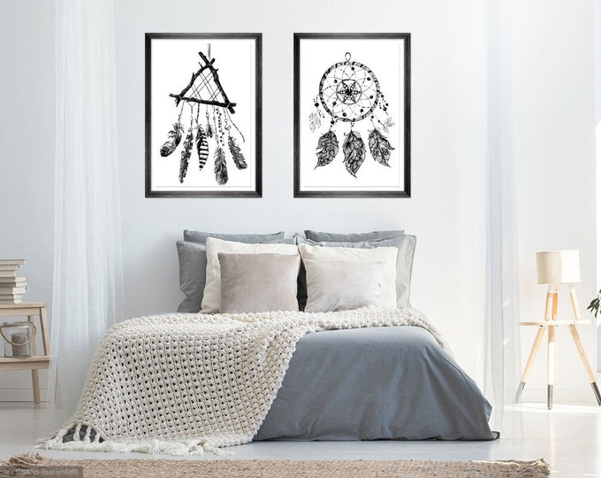 Print Wall Art Decor Photography Large Printable Poster Digital Download Picture Canvas Dream Catcher 2-er SET Download Digital