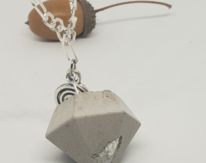 Necklace concrete jewelry gift 925 silver chain woman concrete jewelry New