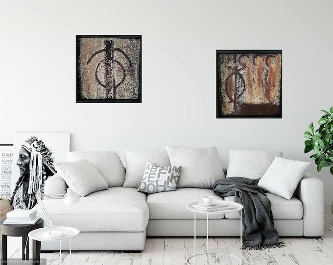 Image Image art acrylic 4.5 deep glass frame deep frame structures mask 3 D unique marble flour pigments 2 er SET