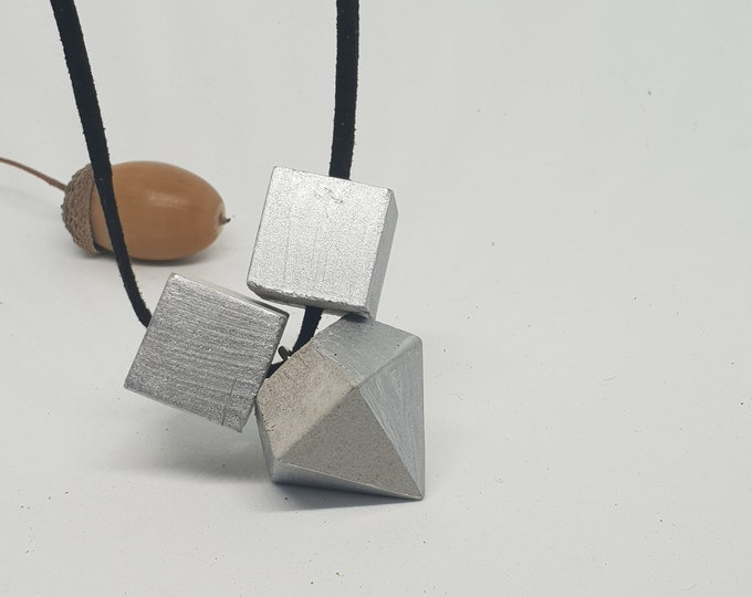 Necklace concrete jewelry gift color grey silver woman concrete jewelry velour leather ribbon diamond shape