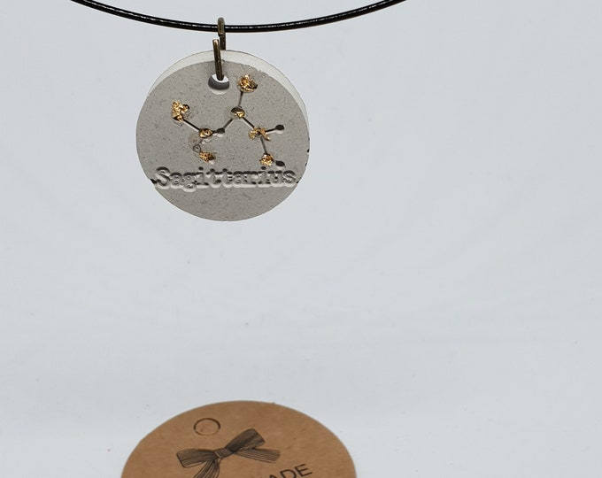 Jewelry neck ripe one-piece concrete jewelry grey chain pendant jewelry concrete zodiac sign 24 carat gold leaf Sagittarius