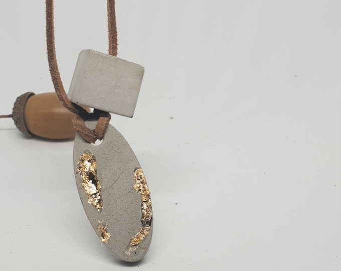 Necklace concrete jewelry gift color grey 24 carat gold gold woman concrete jewelry velour leather ribbon