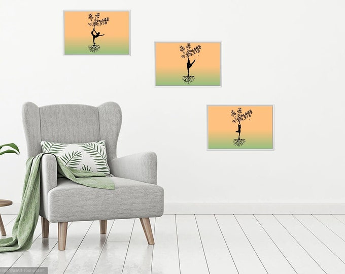 Print Wall Art Decor Photography Large Printable Poster Digital Download Picture Canvas Yoga Three SET Digital
