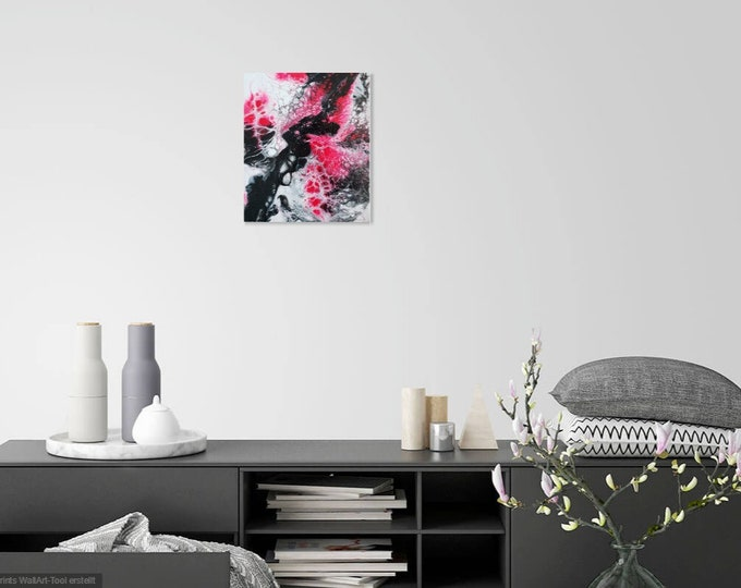 Acrylic Pouring Picture Hand Painted | 30 x 25 cm large canvas | abstract acrylic image | Fluid Art Acryl Scroart Art Pouring Fliessen Pictures