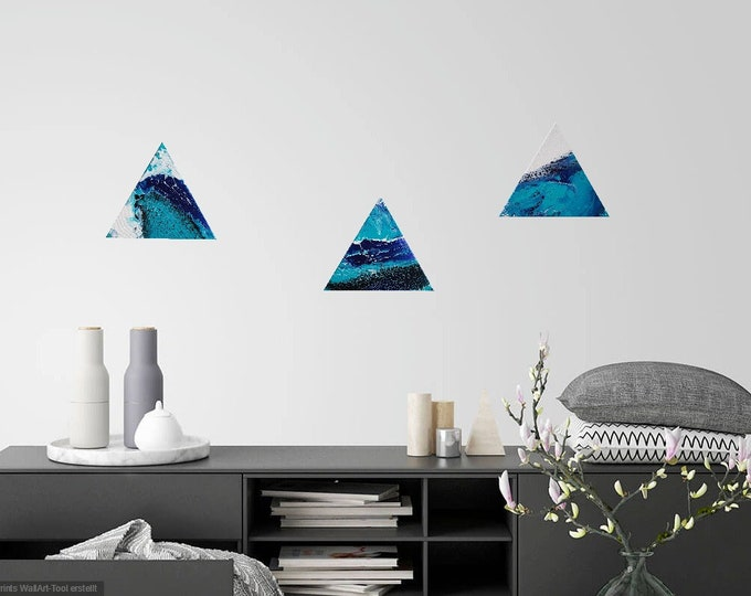 Image Image art acrylic triangle 3 set pouringpicture Pouring Skroart Unique handmade flow images tile technology