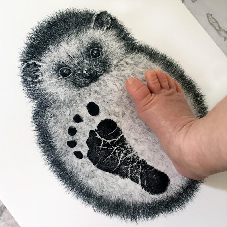 original nursery art woodland nursery gift baby shower keepsake hand-drawn hedgehog Personalised Baby /& Child Hedgehog Footprint Kit