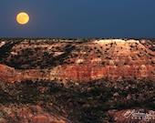 Palo Duro Canyon quot Full Moon Rising quot Amarillo Texas Landscape Photography - Palo Duro Photo - Palo Duro Print - West Texas Wall Art