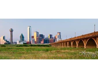 "Dallas Skyline Panorama | ""Dallas Panorama"" | Dallas Sunset Panorama | DFW Wall Art | DFW Panorama - 5x15 Photo - 8x24 Photo - 10x30 Photo"