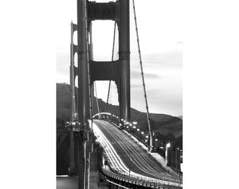 "Black & White San Francisco Wall Art   ""Golden Gate Bridge Light Trails""   San Francisco Photo   Golden Gate Bridge Art - SF Photography"