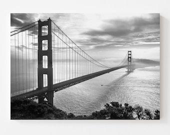 B&W Golden Gate Bridge Canvas   A Rare Morning   San Francisco Canvas Wall Art - Black and White Golden Gate Bridge Canvas Art