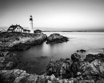 "B&W Maine Photography   ""Portland Head Light""   Maine Lighthouse Print - Black and White Maine Wall Art - Lighthouse Photography"