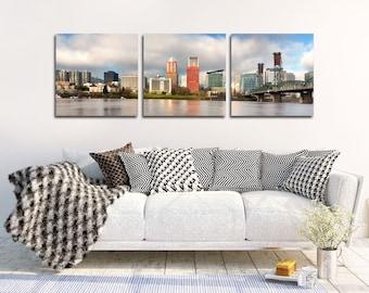 "Portland Skyline Canvas   ""Portland Skyline Panorama""   Portland Canvas Wall Art - Portland Home Decor - Portland Oregon Canvas Artwork"