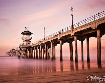 "Huntington Beach Pier Sunrise   ""Tranquil Pier"" Sunrise   California Beach Wall Art   Huntington Beach Photo - Pink Pier - Pink Beach Print"