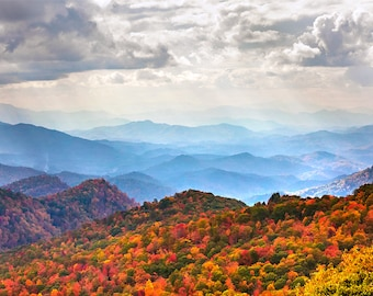 Blue Ridge Fall Decor Photo   Blue Ridge Mountain Vista   North Carolina Wall Art - Blue Ridge Wall Art, Blue Ridge Mountains Photo