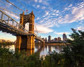 "Cincinnati Photo   ""Roebling Suspension Bridge""   Cincinnati Photography   Cincinnati Wall Art - Cincinnati Print - Roebling Bridge Photo"
