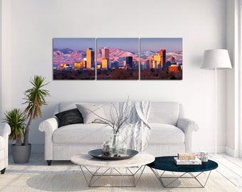 "Denver Skyline Canvas | ""Denver Skyline Panorama"" Canvas | Denver Sunrise Panorama | Denver Wall Art | Denver Mountains - 12x36 Canvas"
