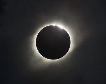 "2017 Solar Eclipse Photo | ""Crater Light"" | Cloudy Total Eclipse Photo - 2017 Total Eclipse Print - Solar Eclipse Totality - Eclipse Art"