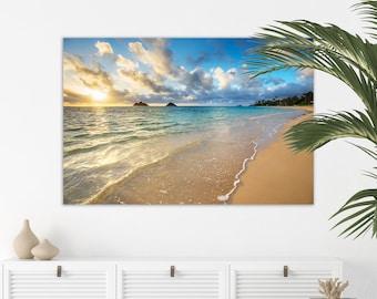 Hawaii Canvas Wall Art   Lanikai Morning   Hawaii Beach Canvas Print, Hawaii Wall Art, Lanikai Beach Canvas Home Decor, Hawaii Beach Decor
