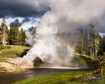 "Yellowstone Photo Print   ""Riverside Geyser""   Yellowstone Geyser Print - Yellowstone Wall Art - Yellowstone Photography - Rainbow Photo Art"
