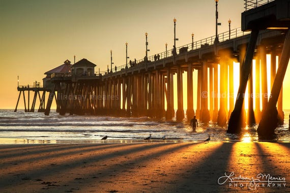 Huntington Beach Pier Photo Sunbeam Silhouette Etsy