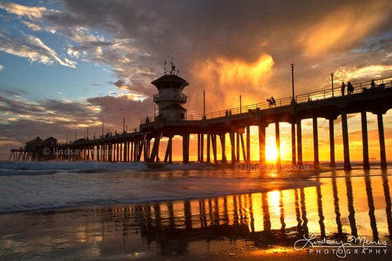 Huntington Beach Photo Sunset Silhouette Etsy