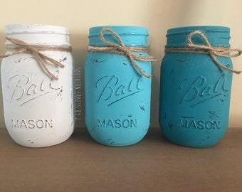 Set of 3 Rustic Painted Mason Jars, Rustic Mason Jars, Rustic home decor, Rustic centerpieces, Rustic mason jar centerpieces