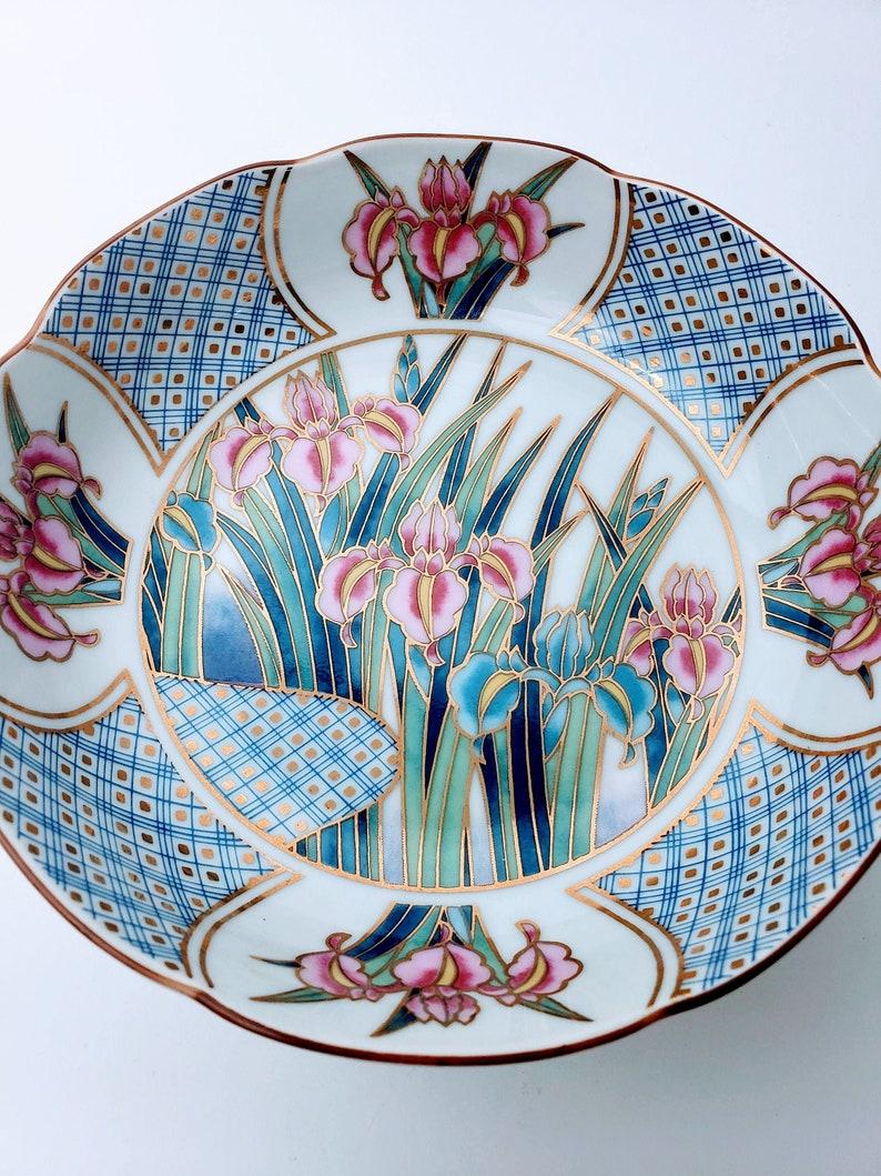 Vintage Ayame Iris Floral Painted 6 Ceramic Bowl Jewelry Dish