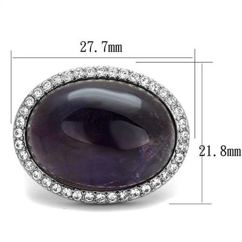 Stainless Steel Ring Raw Amethyst Ring