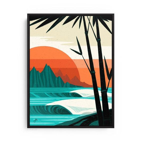 Tropical Beach Scene, Modern Surf Art, Contemporary Hawaiian Canvas Print