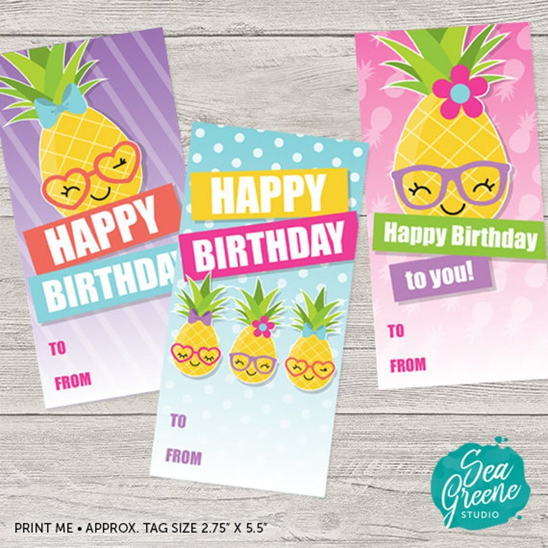 photo regarding Birthday Tag Printable titled Printable Pineapple Birthday Tags Printable Birthday Tags Printable Birthday Card Pineapple Birthday Card Lovely Pineapple Tags Woman
