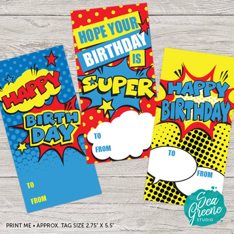 picture about Birthday Tag Printable named Comedian Ebook Birthday tags Printable Superhero birthday reward tags  Printable Comedian ebook Tags Boy birthday card Comedian E book reward tags
