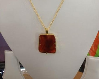 Orange Chalcedony Pendant with Gold Plated Chain