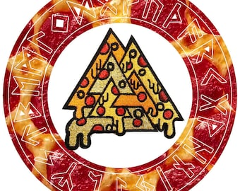 Pizza Valknut Embroidered Iron On Patch