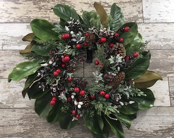 christmas magnolia wreath christmas centerpiece christmas candle ring christmas decor magnolia wreath christmas wreath