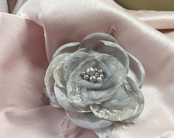 Grey Fabric , Tulle, and Feathered Hair Clip by The Chattanooga Wreath Company