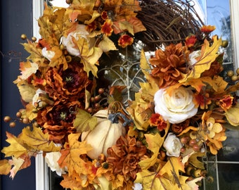 Grapevine Wreath with Golden, Rust, and Cream by The Chattanooga Wreath Company