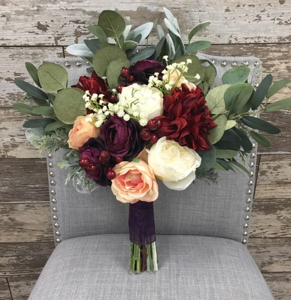 Burgundy Plum And Pink Bridal Bouquet With Roses Ranunculus Etsy