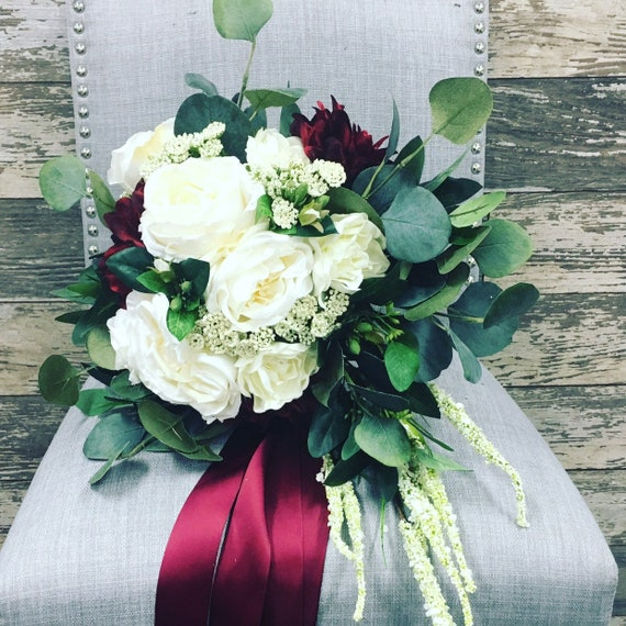 Cascading Bridal Bouquet With White Roses Eucalyptus And Etsy