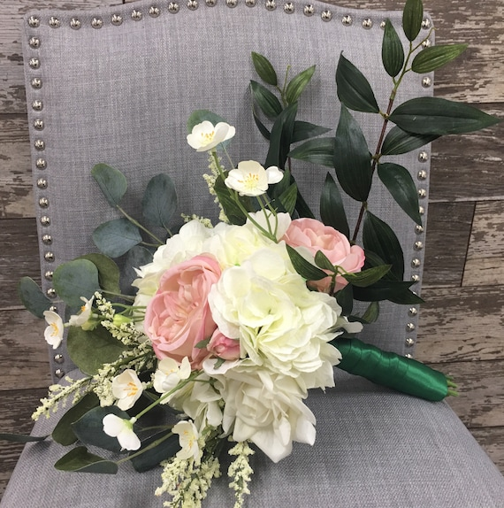 Burlap and Pearls by The Chattanooga Wreath Company Mothers Wrist Corsage with Cream Real Touch Roses