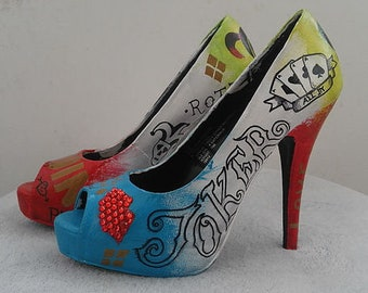 7df650f52 harley quinn & the joker tattoo suicide squad womens shoes heels hand  painted
