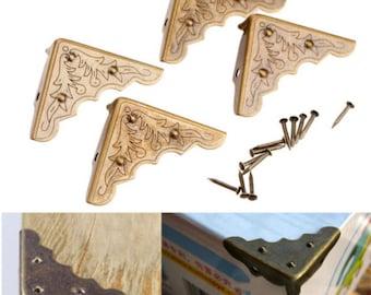 4 Pcs Antique Metal Corner Decorative Protector Jewelry Box Gift Wine Chest Box Wood Case Feet Leg Corner Guard for Furniture