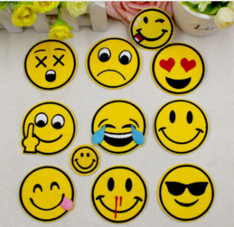 11 PC,s Emoji Stoner Smiley Face Embroidery Iron On Patch Hot Cut Heat Seal  DIY Accessory Applique