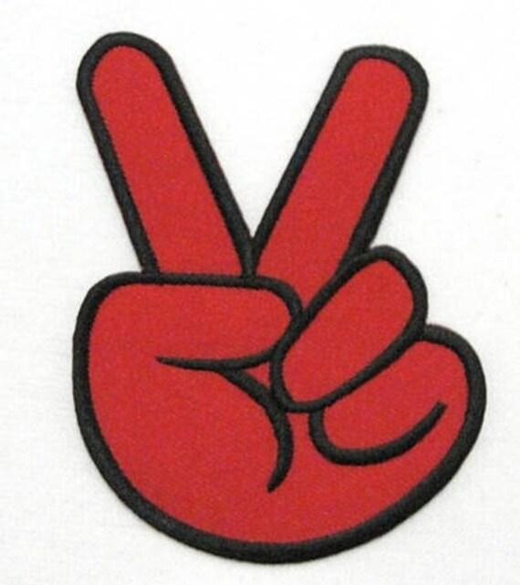Rouge V signe victoire main Hippie Peace   Love symbole Rock   Etsy 9aee2c591a7